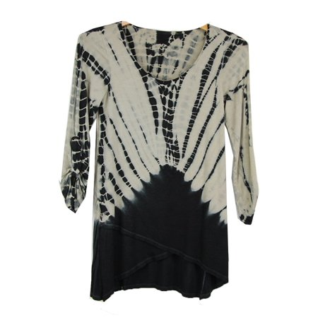 Luna West Womens Black Cream Dye Print Wrap Style Roll Up Sleeves Top S-M (Laura Roll)