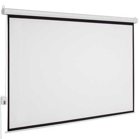 HD Projector Screen, Portable 100 Inch 4:3 Widescreen Foldable Anti-Crease Indoor Outdoor Projector Movies Screen for Home Theater Support Manual Projector Screen Matte White ()