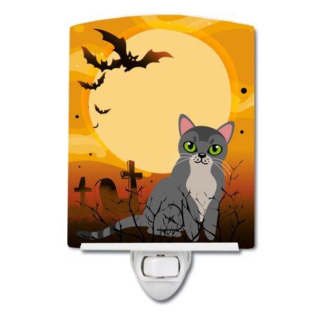Halloween Cat Night Light (Halloween Asian Cat Ceramic Night)