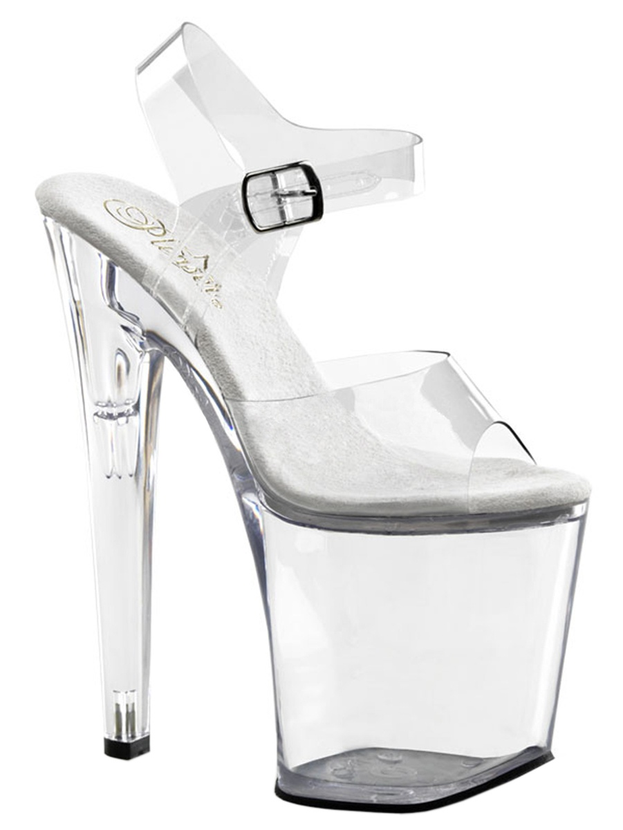 Womens Extremely High Heels 8 Inch Heels Clear Platform Sandals Ankle Strap