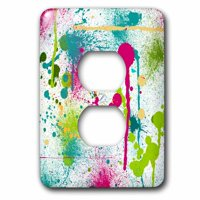 3dRose Funky Paint Splatters - 2 Plug Outlet Cover (lsp_32523_6)