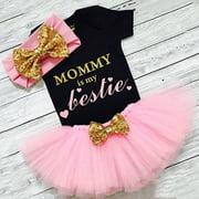3PCS Newborn Baby Girl Clothes Romper Jumpsuit+Tutu Skirt+Headband Outfit Set
