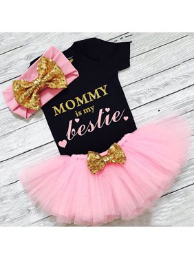 3PCS Newborn Baby Girl Clothes Romper Jumpsuit+Tutu Skirt+Headband Outfit Set
