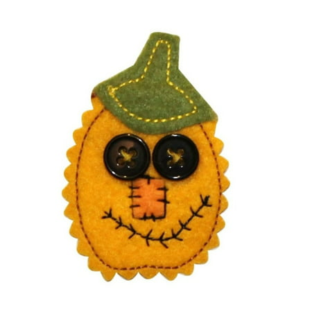 ID 0794B Felt Pumpkin With Buttons Patch Jack Lantern Halloween Iron On Applique - Iron On Halloween Appliques