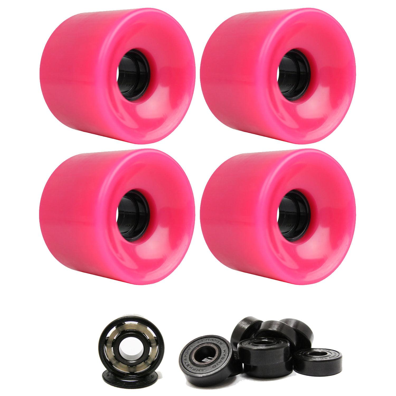 LONGBOARD CRUISER WHEELS 65mm x 51.5mm 83A 806C Pink  CERAMIC BEARINGS