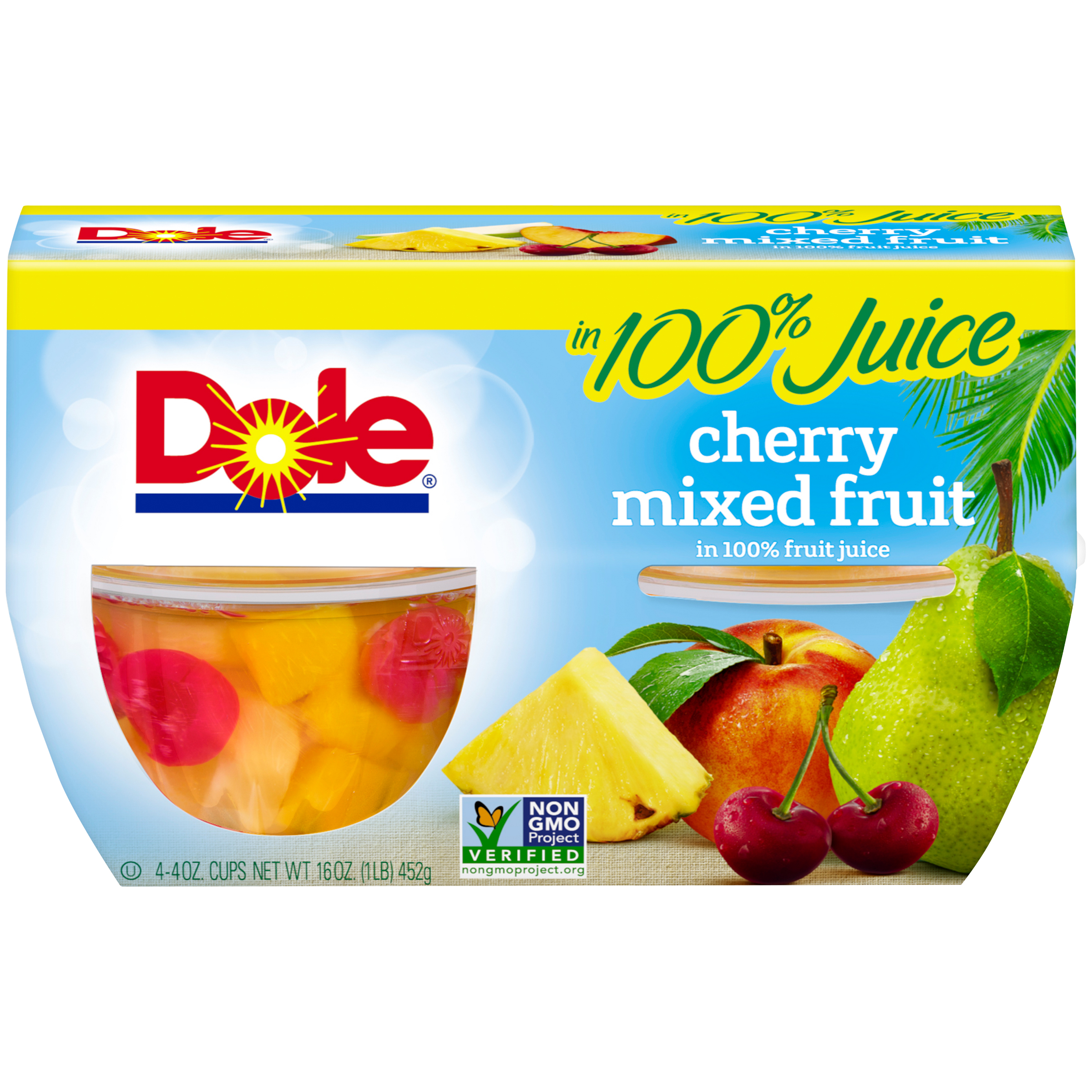 Dole Fruit Bowls, Cherry Mixed Fruit in 100% Fruit Juice, 4 Ounce (4 Cups)