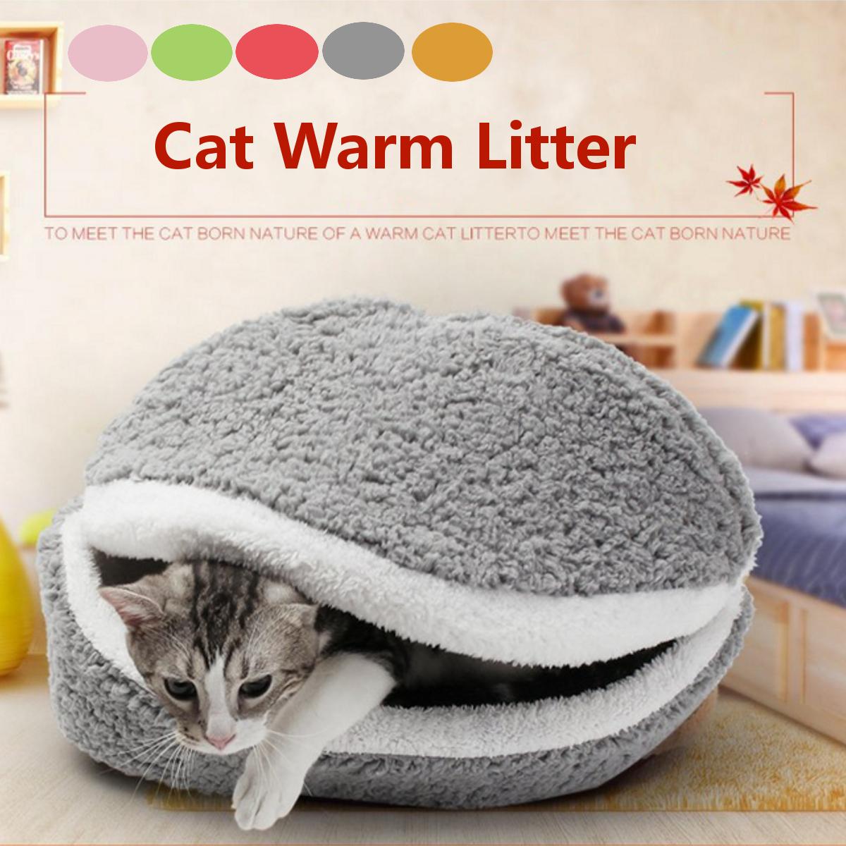 Washable Shell-shaped Burger Bun Soft Pet Bed Cat Bed Dog Sleeping Nest Bag Cave House Sleeping Bag Mat Pad Cushion 17*13*13inch