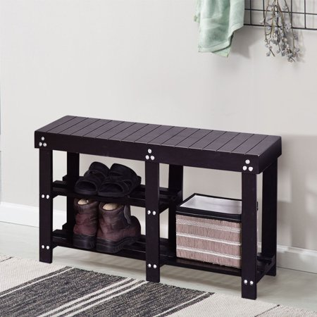black wood entryway benches with shoe storages | Costway Solid Wooden Shoe Bench Storage Racks Seat ...