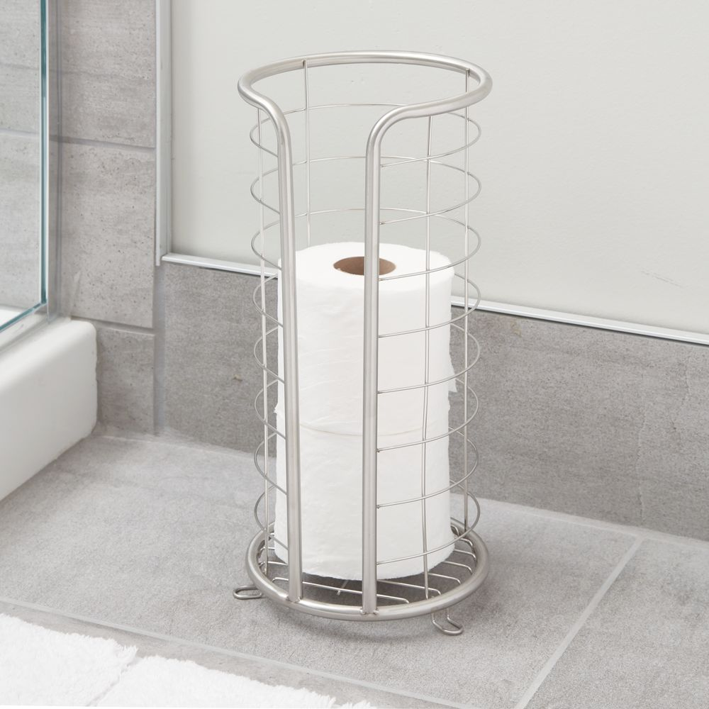 InterDesign Forma Free Standing Toilet Paper Holder for Bathroom, Brushed Stainless Steel