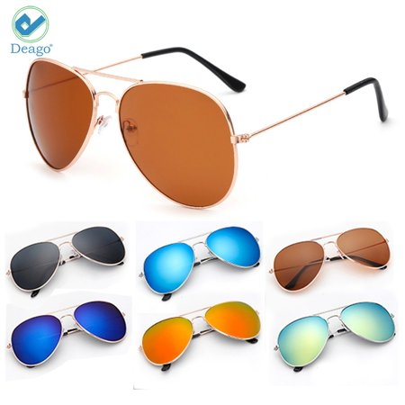 Metal Polarized Mirror (Deago-Women Men Aviator Polarized Metal Full Frame Sunglasses Driving Mirror Lens Glasses New Fashion Sunglasses Gold+Brown )