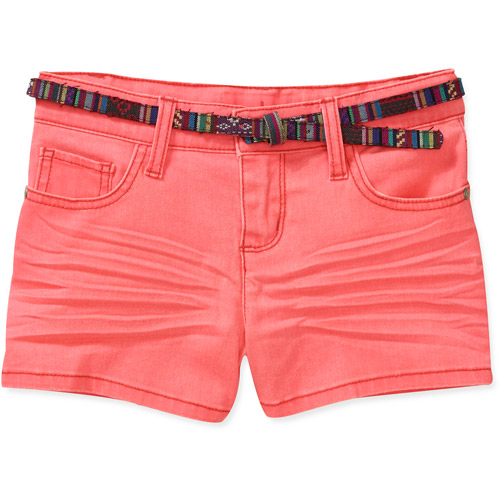 Girls' Belted Colored Shorts