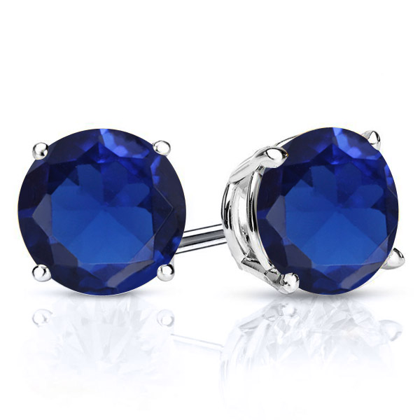 4.00 Ct 925 Silver Round Cut Simulated Blue Sapphire CZ Stud Earrings 8MM