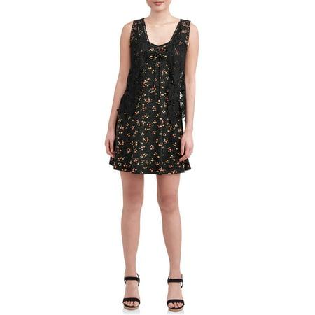 Juniors' Floral Lace up Dress with Crochet Vest 2fer