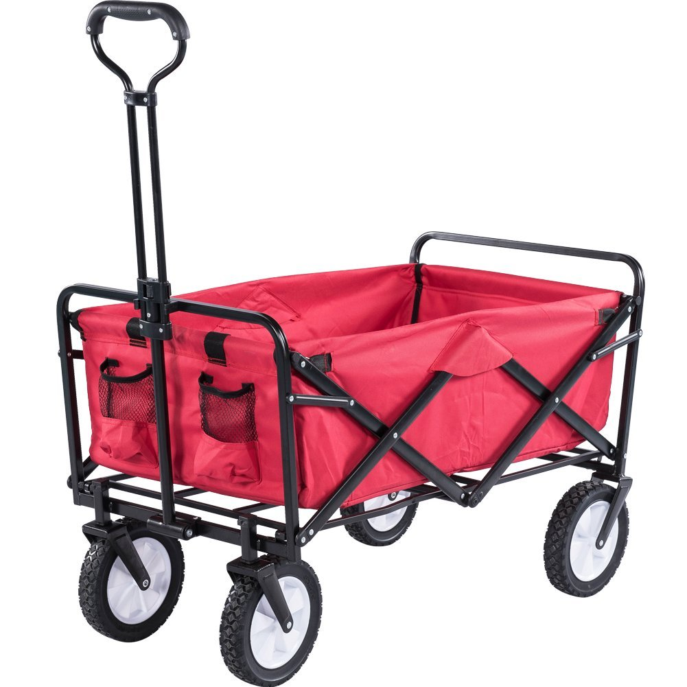 Serenita Collapsible Garden Cart Folding Utility Wagon Shopping Yard Beach  (Black,Red,Blue