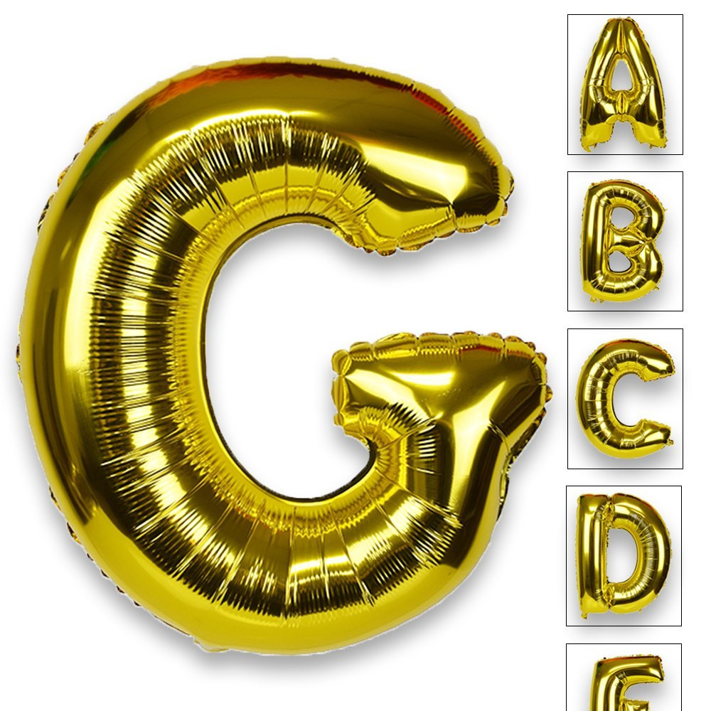 Just Artifacts Glossy Gold (30-inch) Decorative Floating Foil Mylar Balloons - Letter: G - Letter and Number Balloons for any Name or Number Combination!