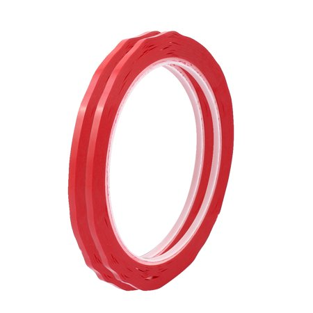 - 2Pcs 3mm Width Single Sided Strong Self Adhesive Mylar Tape 50M Length Red