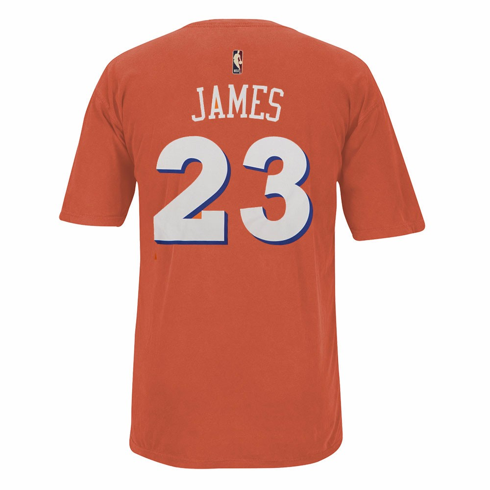 LeBron James Cleveland Cavaliers NBA Adidas Men Orange Player Name & Number Pigment Dye Jersey T-Shirt