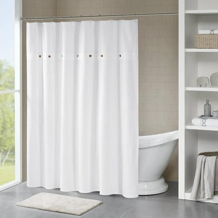 Lucina Cotton Textured Shower Curtain White