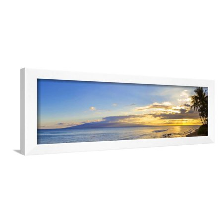 Palm Trees on the Beach at Dusk, Kaanapali, Maui, Hawaii, Usa Framed Print Wall Art By Panoramic