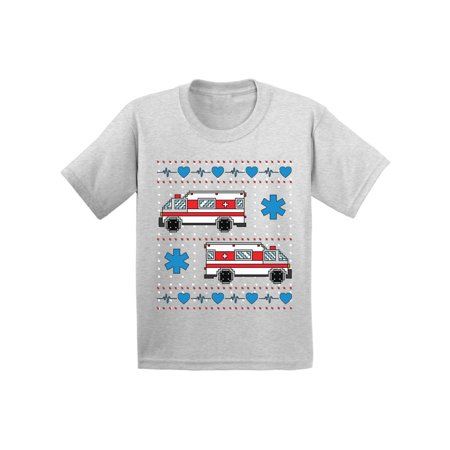 Awkward Styles Ambulance Truck Christmas Shirt for Kids Ugly Christmas T Shirt Toy Truck Youth Shirt for Xmas Funny Christmas Gifts for Kids Holiday Tshirt Christmas Shirts for Boys and