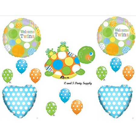 New Welcome Twins Turtle Frogs Baby Shower Balloons Decorations