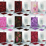 Flower Pattern Bathroom Set Waterproof Shower Curtain & Bath Mat & Non-Slip Rug & Lid Toilet Cover Home Decor Bathroom Accessories