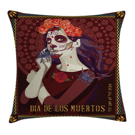 Day Of The Dead Decor Throw Pillow Cushion Cover, Dia de los Muertos Print Woman with Calavera Makeup Spanish Rose Art, Decorative Square Accent Pillow Case, 24 X 24 Inches, - Makeup Halloween Calaveras
