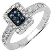 Malaika Olivia Leone Sterling Silver 1/3ct TDW Blue and White Diamond Ring