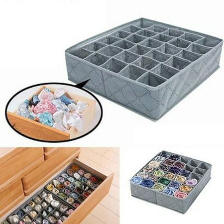 Hot 30 Cells Bamboo Charcoal Underwear Ties Sock Drawer Closet Organizer Storage Box