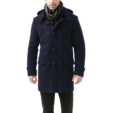 BGSD Mens Tyson Wool Blend Leather Trimmed Toggle Coat