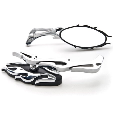 Flame Rear View Mirrors Chrome Pair w/Adapters For Yamaha Virago XV 250 500 535 700 750 920 1100 - image 3 de 3