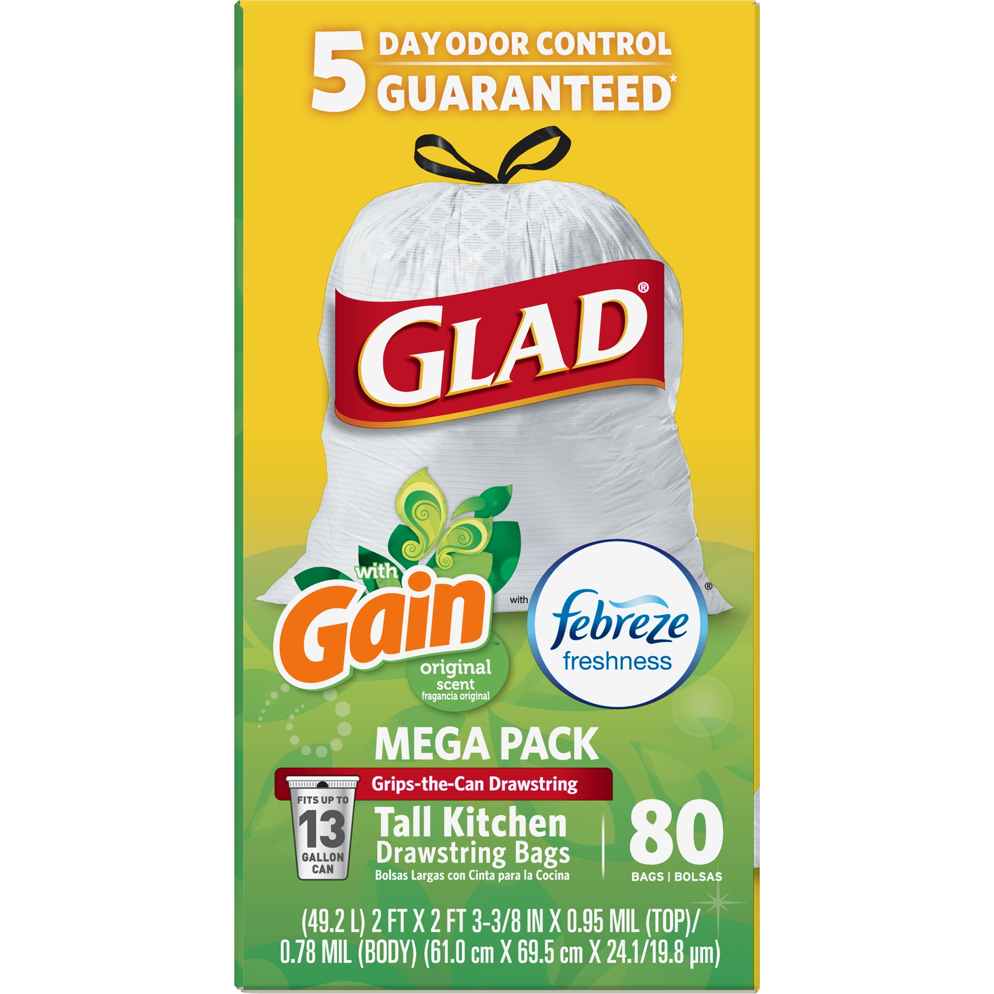 Glad OdorShield Tall Kitchen Drawstring Trash Bags - Gain Original with Febreze Freshness - 13 gal - 80 ct