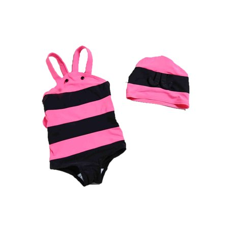 StylesILove Baby Unisex Bumble Bee Costume Swimsuit and Hat (2T, Pink)](Bee Costume Baby)