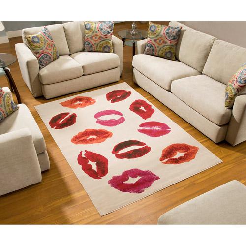 Terra Kiss Rectangle Area Rug White/Orange/Red