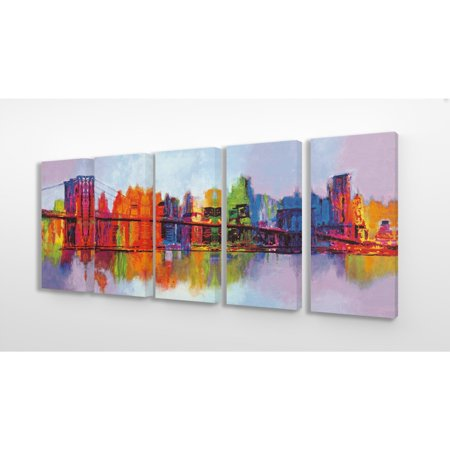 The Stupell Home Decor Collection Abstract Vibrant Rainbow Painted Cityscape and Bridge Reflected in Water 5pc Stretched Canvas Wall Art Set, 10 x 1.5 x 21