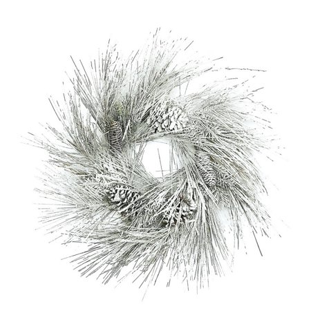 Long Needle Pine Wreath (Long Needle Snow Pine & Cone Wreath,)
