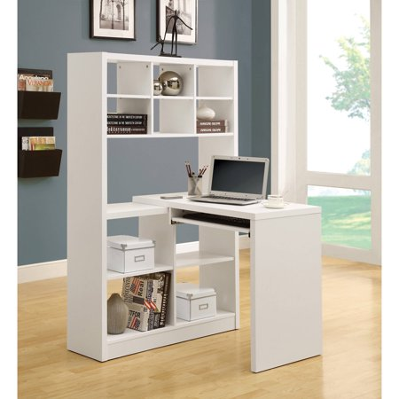 Monarch Hollow-Core Left or Right Facing Corner Desk with Hutch - White