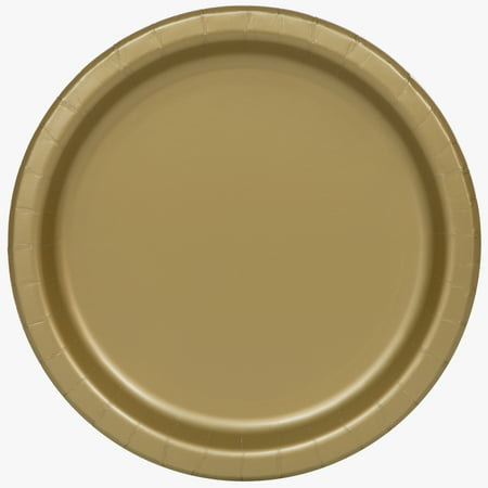 Gold Paper Dessert Plates, 7in, - Party Paper Outlet