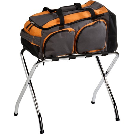 Honey Can Do Folding Luggage Rack, Chrome Honey Can Do Folding Luggage Rack, Chrome: Long-lasting brilliant finishEasy to cleanReinforced polyvinyl webbingStrong and durableHeavy-duty steel frameHolds up to 40 lbs4-2  wide heavy-duty straps1  chrome-plated steel tubingMeasures: 26.38 L x 15.75 W x 21.26 HLifetime limited warrantyModel# TBL-01817