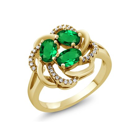 1.57 Ct Oval Green Simulated Emerald 18K Yellow Gold Plated Silver Ring
