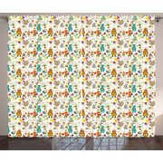 Birthday Curtains 2 Panels Set, Festive Fun Event with Cartoon Drawn Style Mouse Fox Bear Wolf Frog Hedgehog Hare, Window Drapes for Living Room Bedroom, 108W X 63L Inches, Multicolor, by Ambesonne