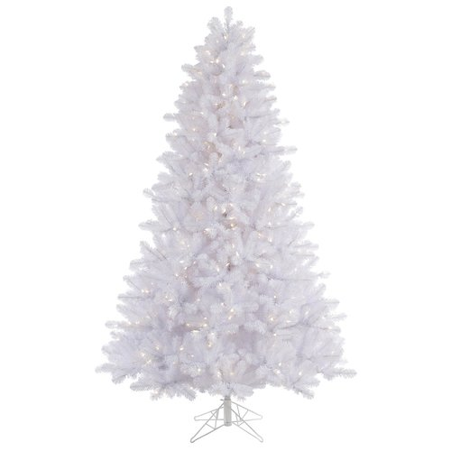 The Holiday Aisle 8.5' Crystal White Pine Christmas Tree with 900 LED Warm White Lights with Stand