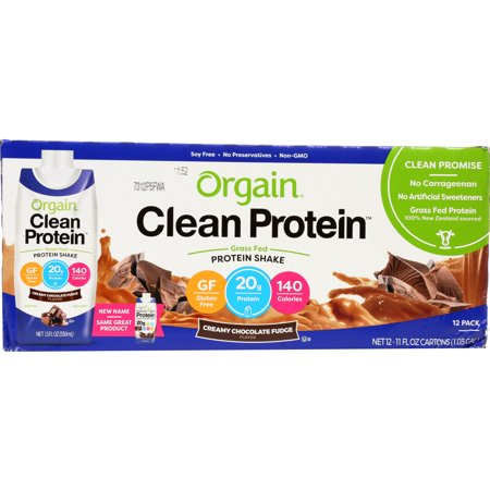 Orgain Grass Fed Clean Protein Shake, Chocolate, 20g Protein, 12