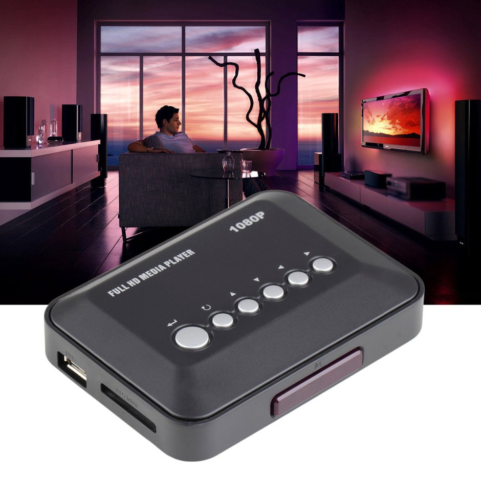 (AU)1080P HD USB HDMI Multi TMedia Video Player Box Video MMC RMVB MP3