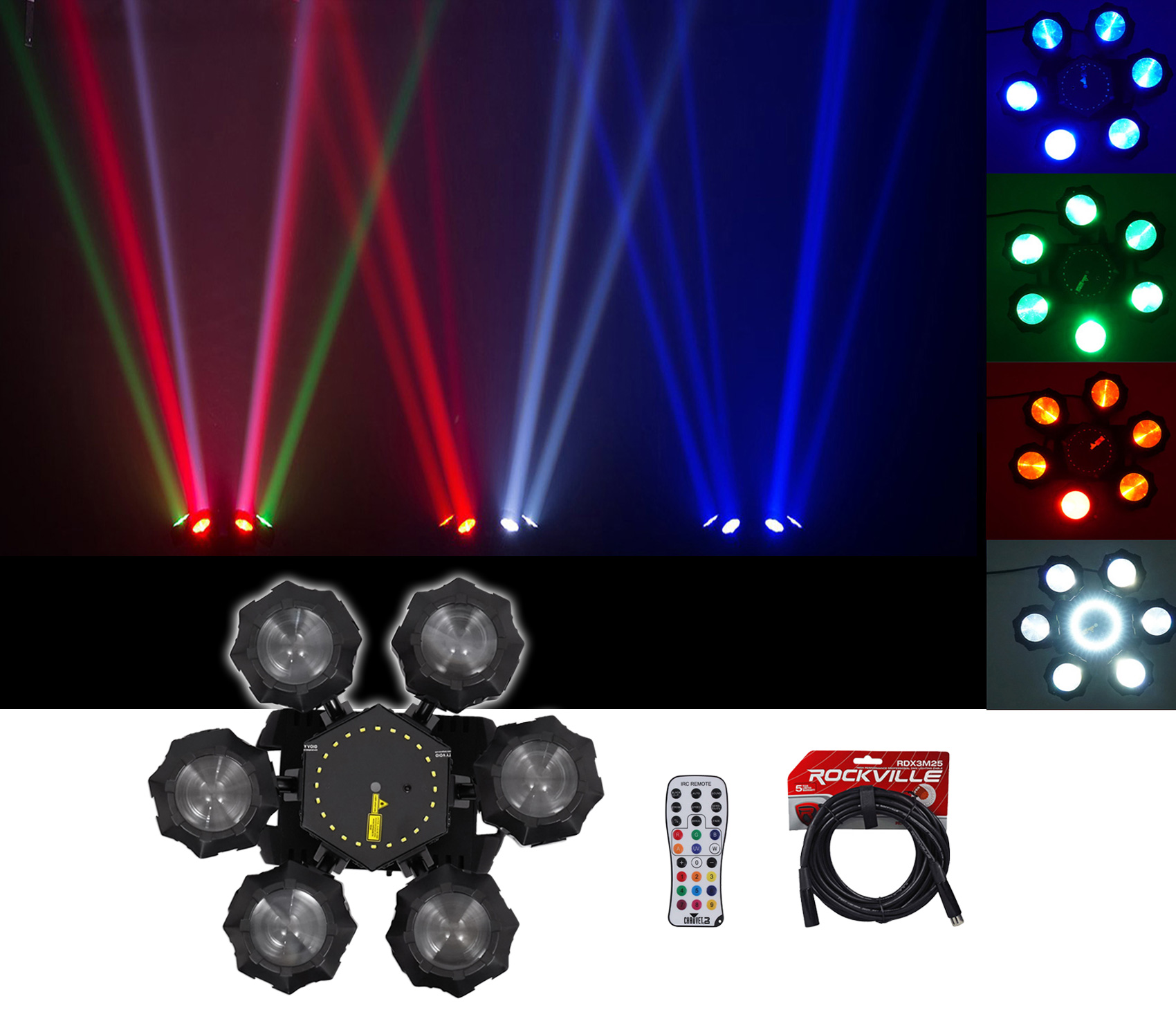 Chauvet DJ Helicopter Q6 DMX Rotating Dance Floor Effect Light + Remote + Cable by CHAUVET