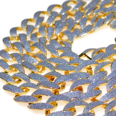 Mens Hip Hop Chain Gold Finish Glitter Bling Frosted Links Cuban Link Necklace 30