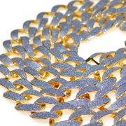 """Mens Hip Hop Chain Gold Finish Glitter Bling Frosted Links Cuban Link Necklace 30"""" Inch Long"""
