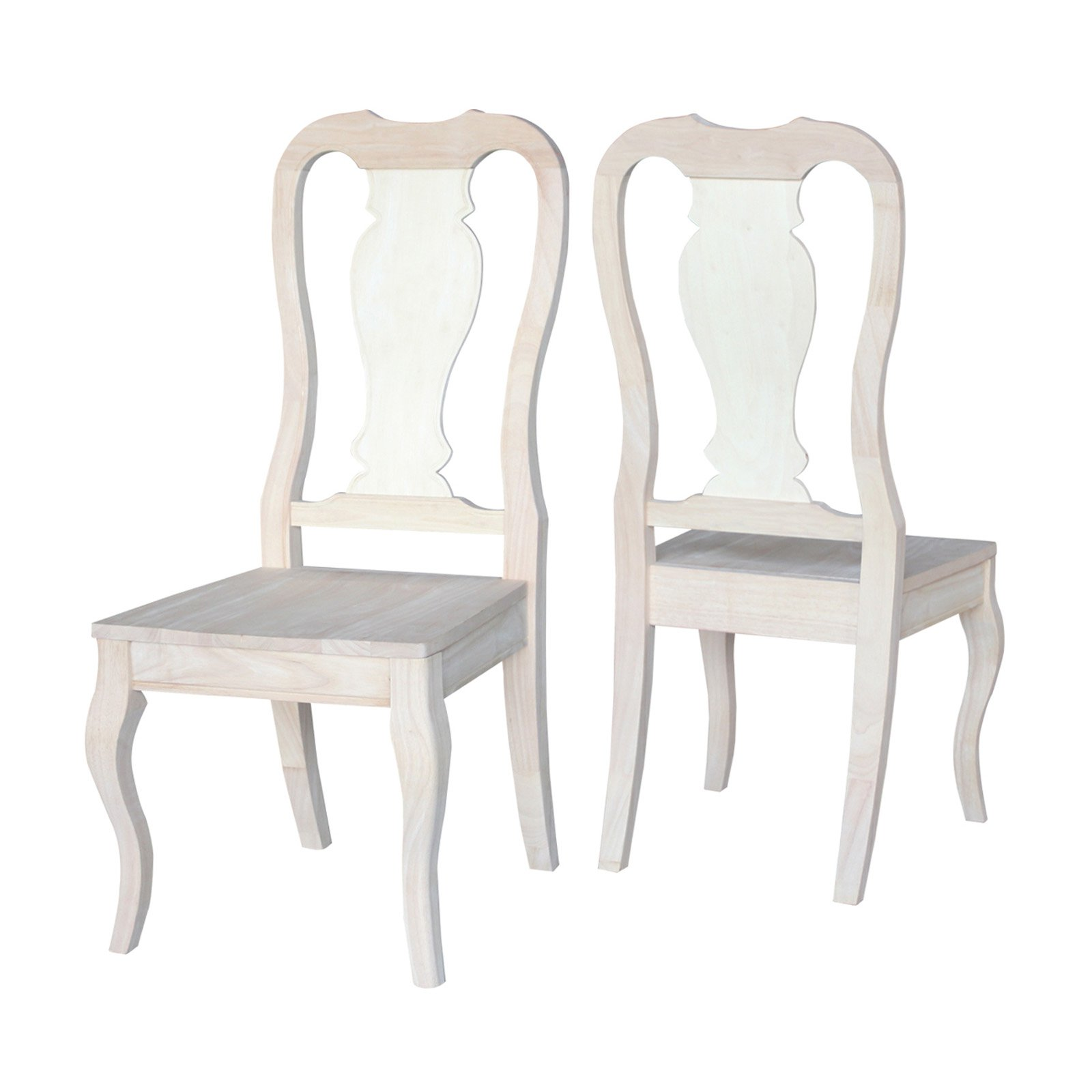 International Concepts Set Of 2 Queen Anne Chairs Walmart Com