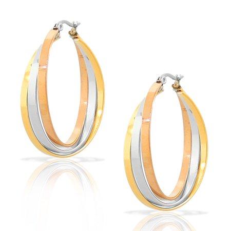 Stainless Steel Yellow Rose Gold Silver-Tone Multi-Bangle Interlocking Hoop Earrings (Earing Bangle)