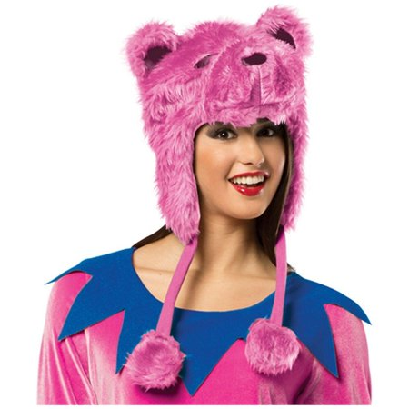 Pink Grateful Dead Bear Hat Adult Halloween Accessory